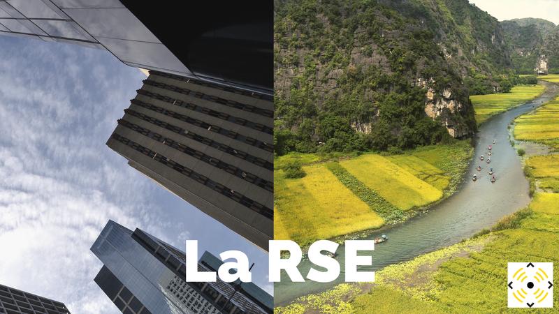 RSE agence cause image d'une ville et image d'une campagne pour représenter l'impact environnemental des entreprises
